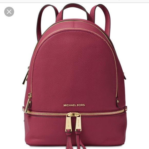 f56dc4787885 Michael Kors Rhea Zip MD Mulberry Leather backpack